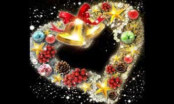 عيد الميلاد اكليلا من الزهور القلب LW محاكمة