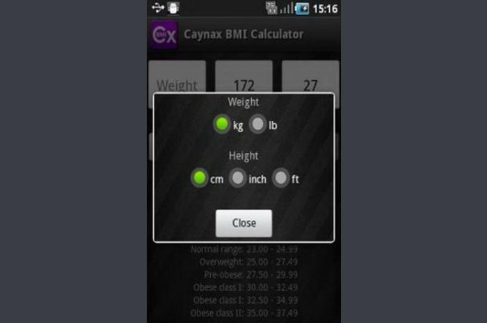 Caynax BMI kalkulátor