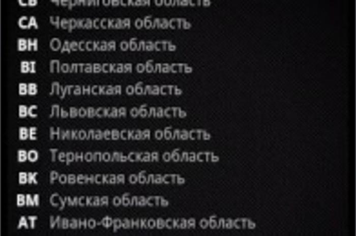 Автомобільні коди регіонів Україні