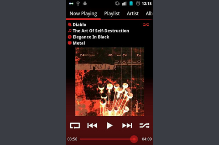 GoneMAD Music Player ICS Holo röd hud