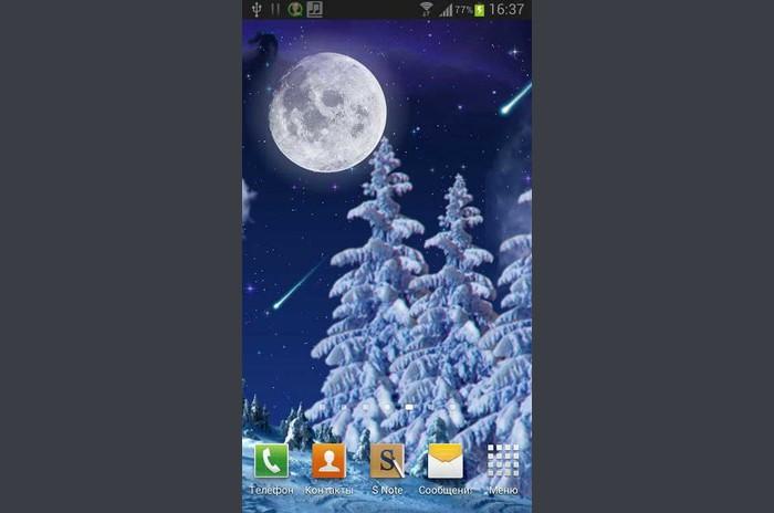 Zimowa noc Tapety - Winter Night Live Wallpaper