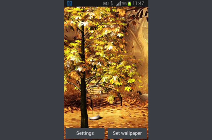 Swing in Autumn Park Live Wallpaper