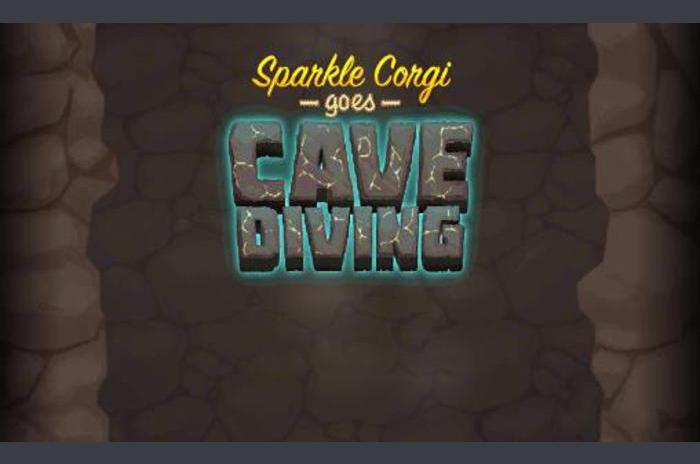 Sparkle corgi idzie nurkowanie jaskiniowe